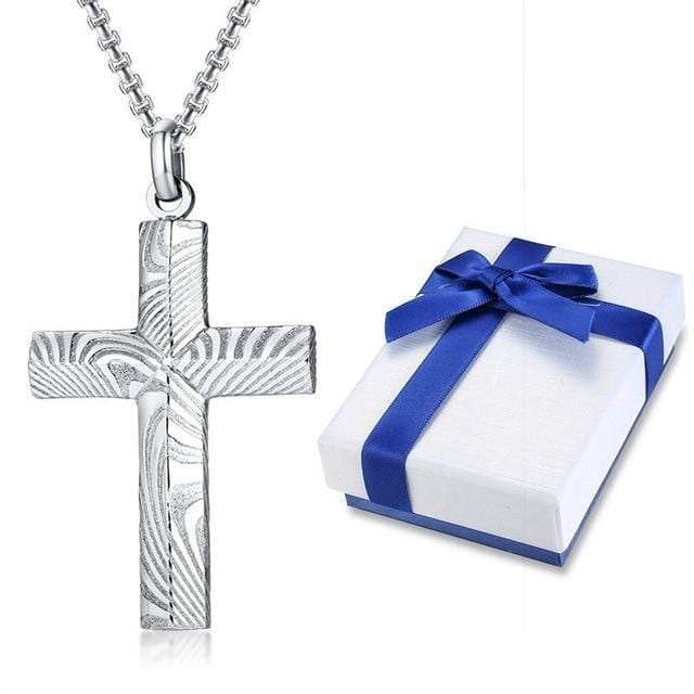 High Quality Mens  Steel  Cross Necklace