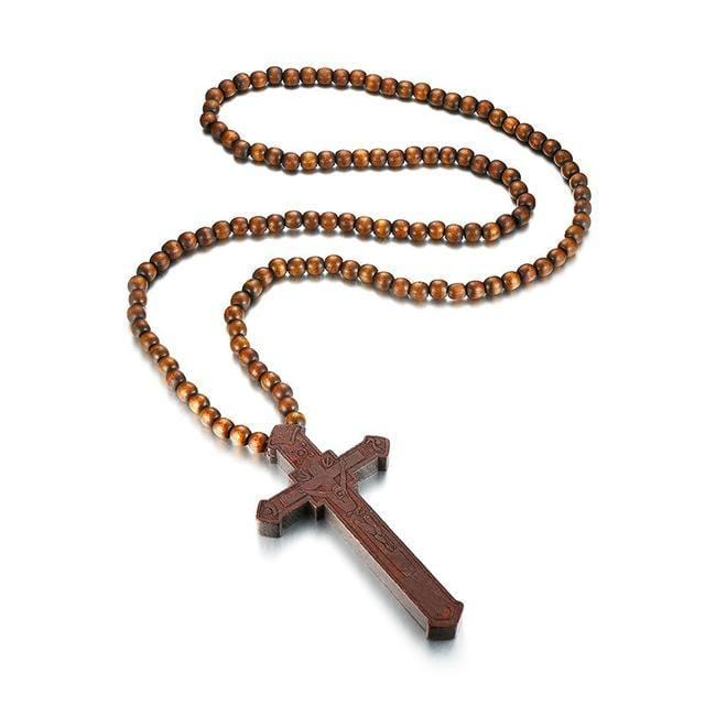 Catholic Jesus Cross Wood Pendant Necklace  for Men