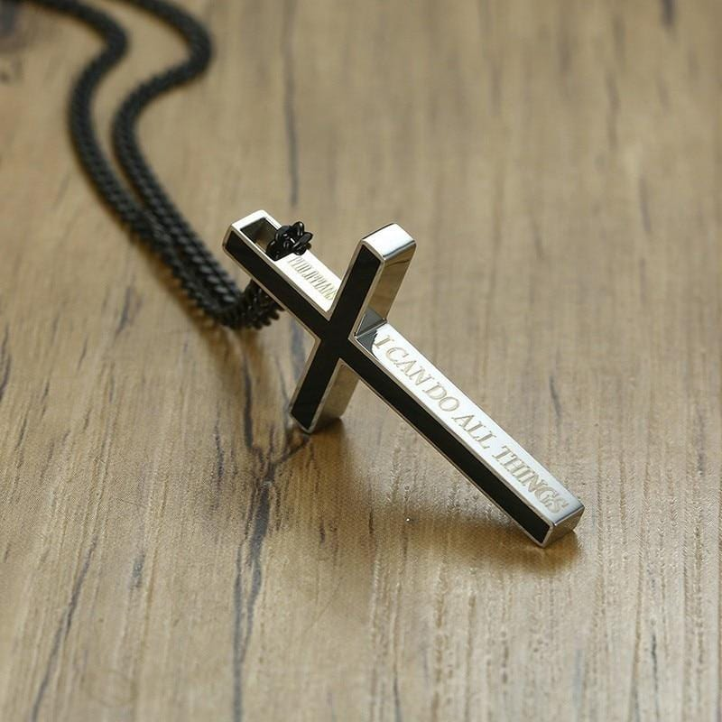 Stainless Steel  Bible Cross  Pendant Necklace for Women Men