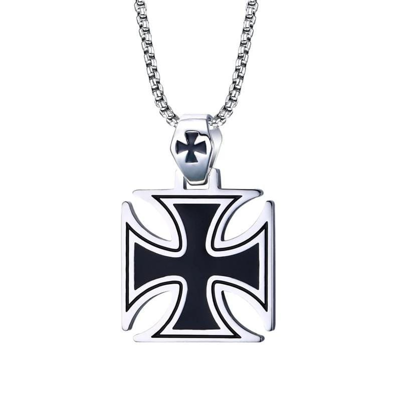 Stainless Steel Vintage  Mens Cross  Pendant Necklace