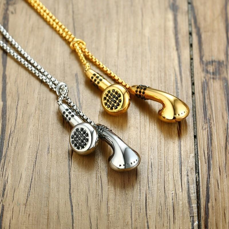 Stainless Steel Mens Headset  Pendant Necklace Gold and Silver