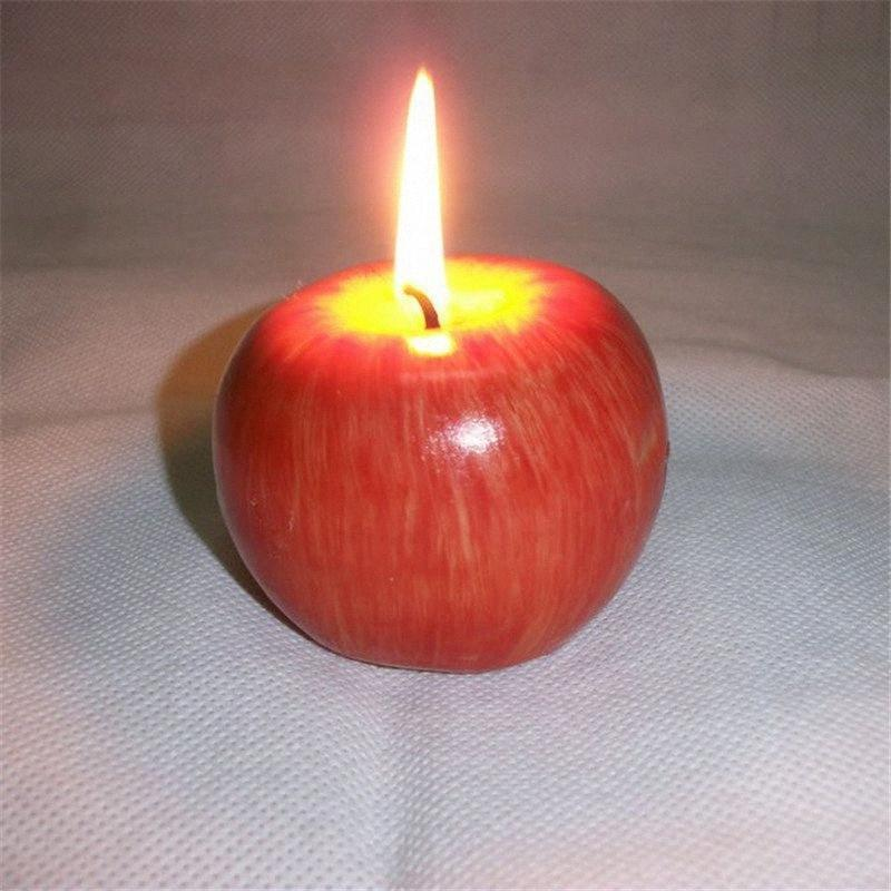 4 X Red Apple Candles Set