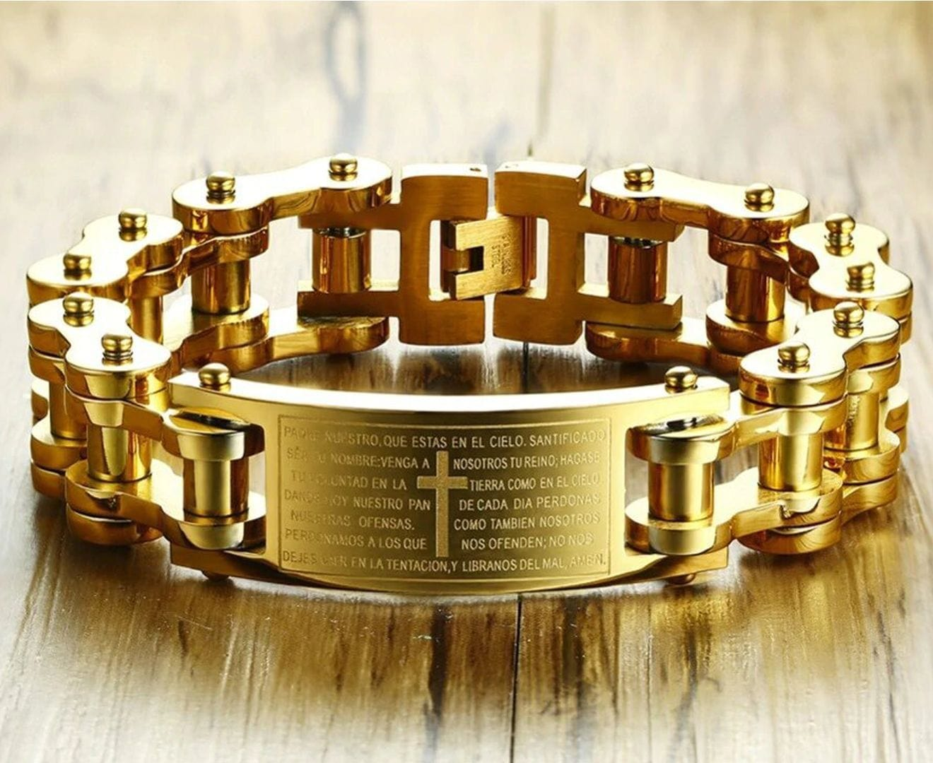 Stainless Steel Gold Plated Heavy Bike Bicycle Bracelet