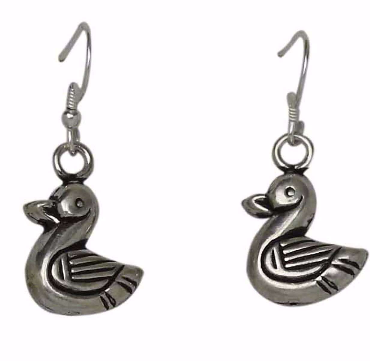 Solid Sterling silver swan earrings