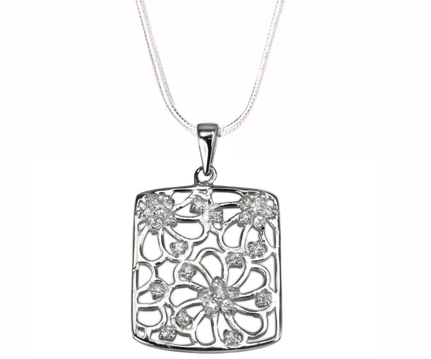 Silver FLOWER RECTANGLE  Pendant Necklace
