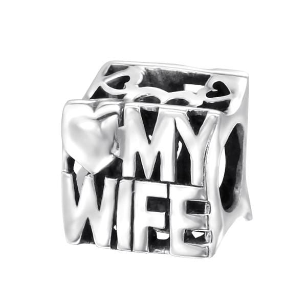 Silver Love My Wife Charm Bead
