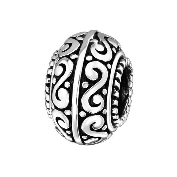 Silver Round Charm Bead