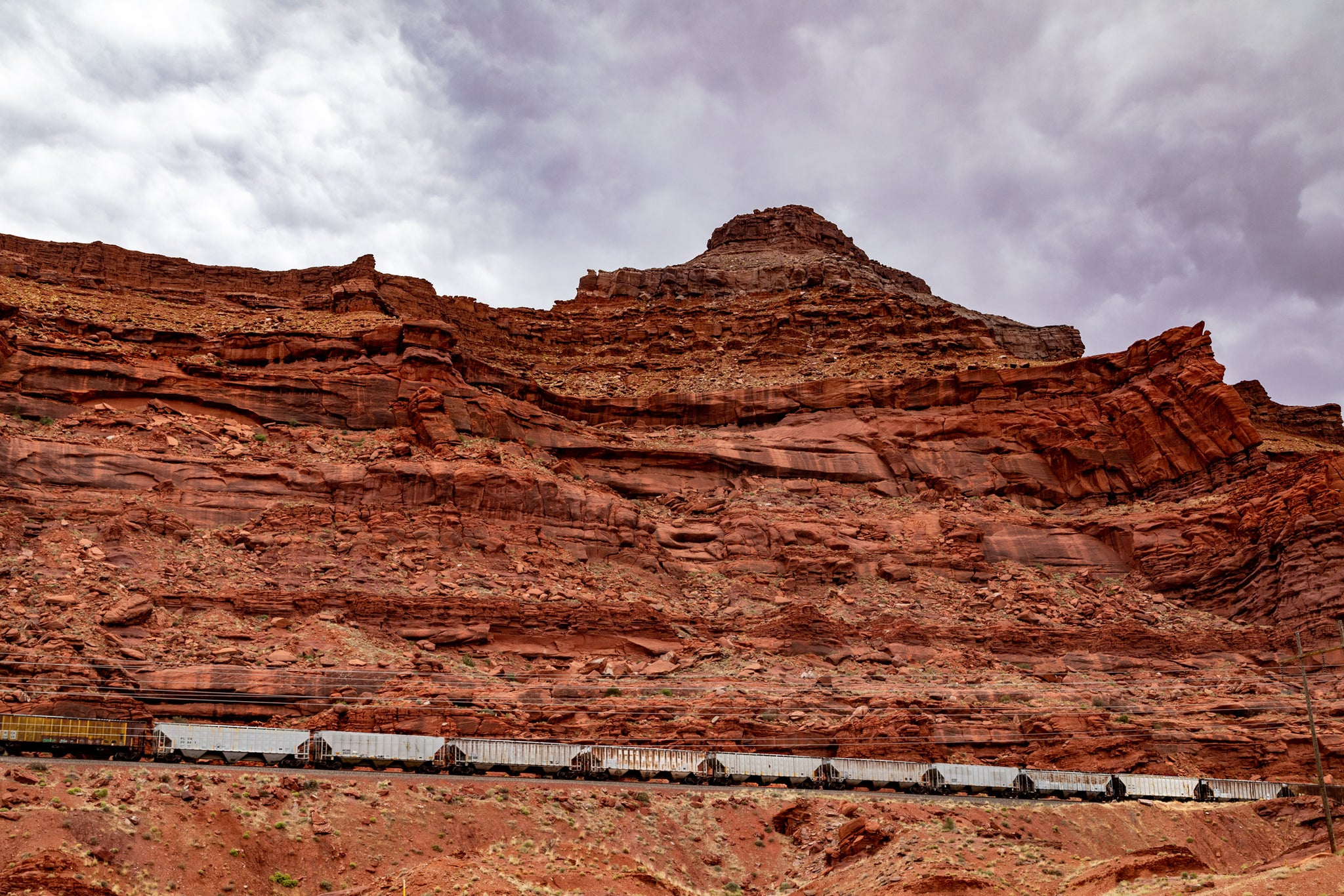 Train and Red Rocks near Arches in Utah
