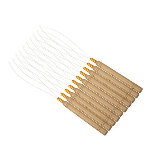 Wooden Hair Extension Wig Pulling Tool Needle Threader Micro Rings Beads Loop