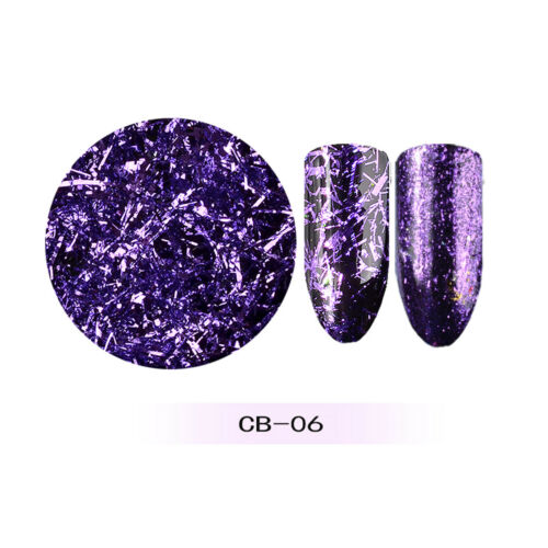 Nail Art Foil Magic Mirror Glass Glitter 3D Sticker 6 colors