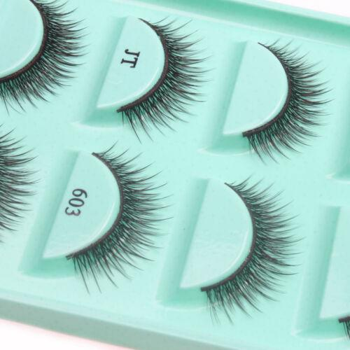 Long Thick Cross Handmade Fake False Eyelashes 5 Pairs