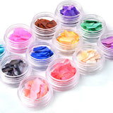 Natural Thin Shell Slice Nail Art Decoration Set 12 Pots