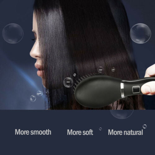 Hair Straightening Brush Electric Tourmaline Anion Heating Straightener Beauty 100~240V