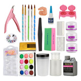 18 in 1 Acrylic Liquid Powder Nail Art Tips Files Buffer Pen Clipper Tools Kit
