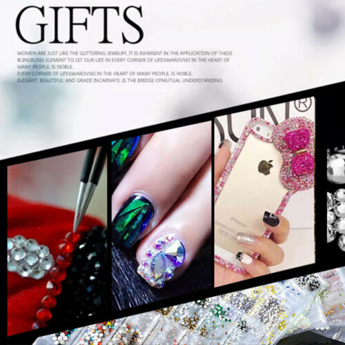 Mix Size Glass Flat Back Rhinestone Gem For Nail Art Decoration 1304 PCS
