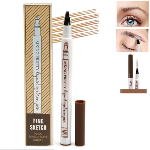 4 Colors Microblading Tattoo Eyebrow Ink Fork Tip Pen Eye Brow 3D Makeup Pencil