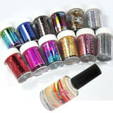 12 Colors Nail Art Transfer Foil Sticker With 15ml Star Glue Set