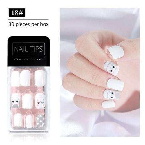False Nails Kit Full Cover Art Nail Tips 22 Patterns to Choose 30PCS
