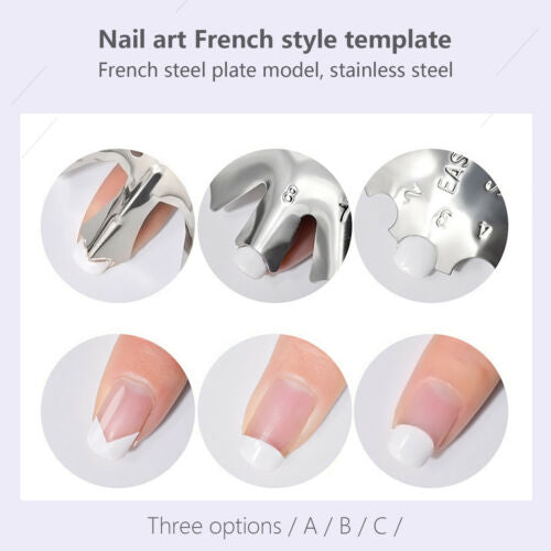 Reusable Metal Nail Art Easy French Smile Line Cut Edge Trimmer Stencil Tool