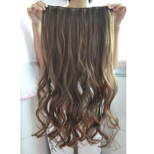 "22"" Gorgeous Women One Piece Long Wavy Curly Hair Clip-on Wig Brown Black"