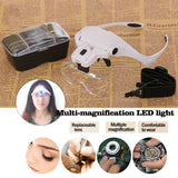 LED Head Magnifying Glasses Headset Light Hands Headband Eyelash Extension Watch