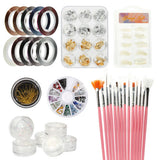 Nail Art Decoration Kits DIY Glitter Nail Rhinestones /Brush/Nail Foils Sticker 5Set