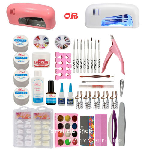 US Seller Nail Art UV Gel Set 9W Lamp Dryer Brush Tips Top Coat Glue Tools Kit#30