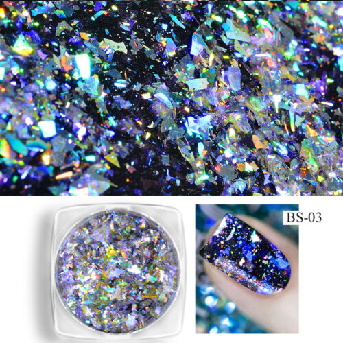 Nail Art Laser Pigment Chrome Glitter Powder Holographic Chameleon Mirror Effect