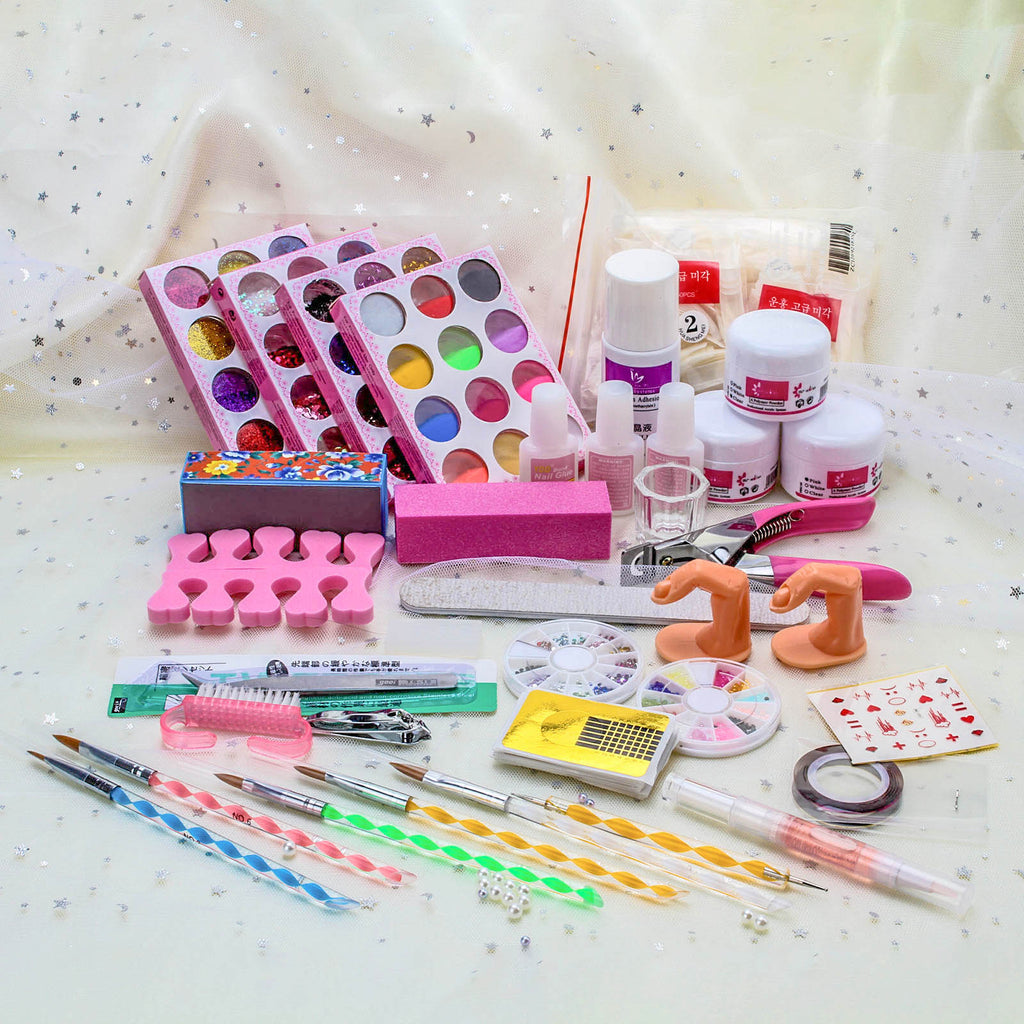 Pro Acrylic Liquid Nail Art Brush Glue Glitter Powder Buffer Tools Set Kit Tips