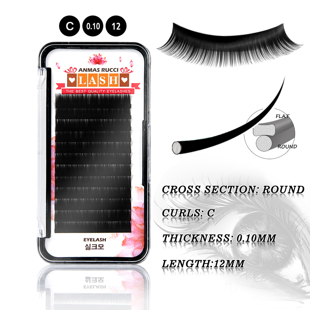 B/C/D Curl Individual False Eyelashes Extensions 7~14mm 12 Strips/Line