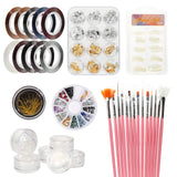 Nail Art Decoration Kits DIY Glitter Nail Rhinestones /Brush/Nail Foils Sticker A#Kits