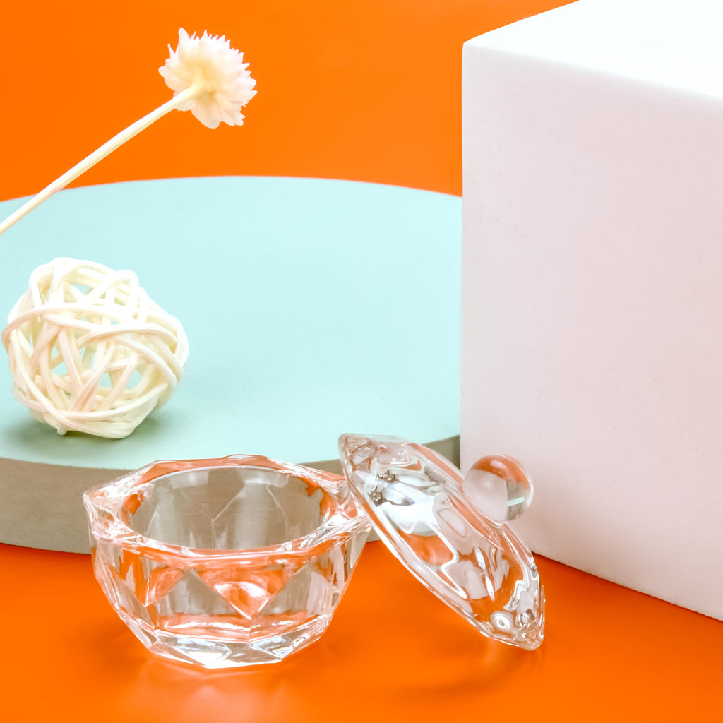 Crystal Glass Dappen Dish with LID Bowl Cup 2 PCS