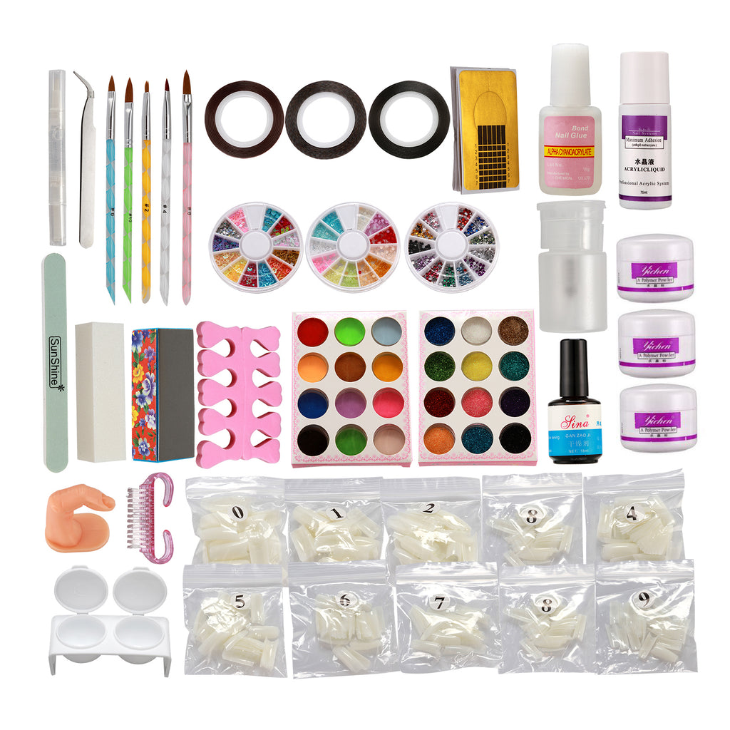 Nail Art DIY Full Set Kit Acrylic Glitter Powder Primer Tips Brush Glue Dust Kit#13