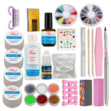 Professional Nail Art Kit Acrylic Glitter Powder Glue File French UV Gel Tips US