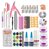 anmas rucci 24 in 1 Combo Set Professional DIY Nail Art Decorations Kit Brush Buffer Acrylic Glitter Powder Cuticle Revitalizer Oil Pen Tool Nail Tips Rhinestones Pearls Reusable Form Glue Acrylic Set #27