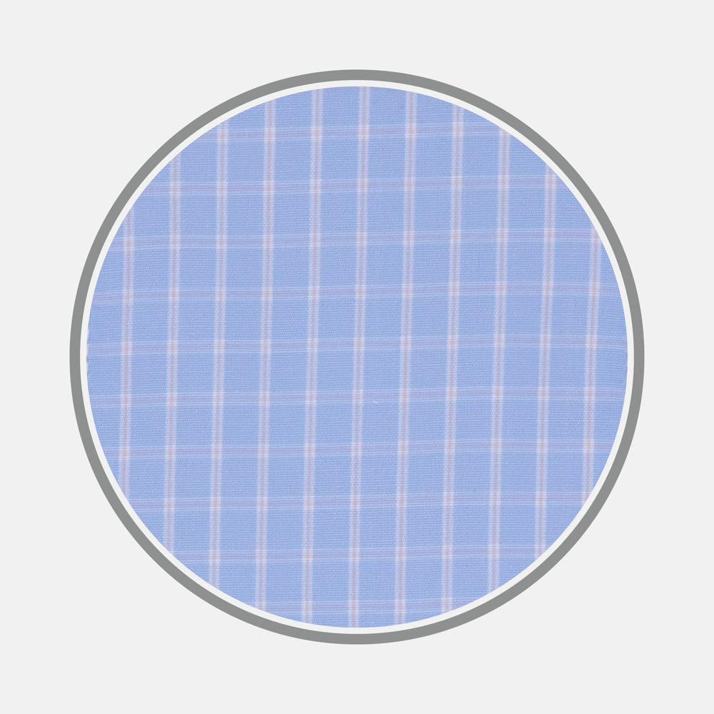 Light Blue and Pink Block Check Cotton Fabric