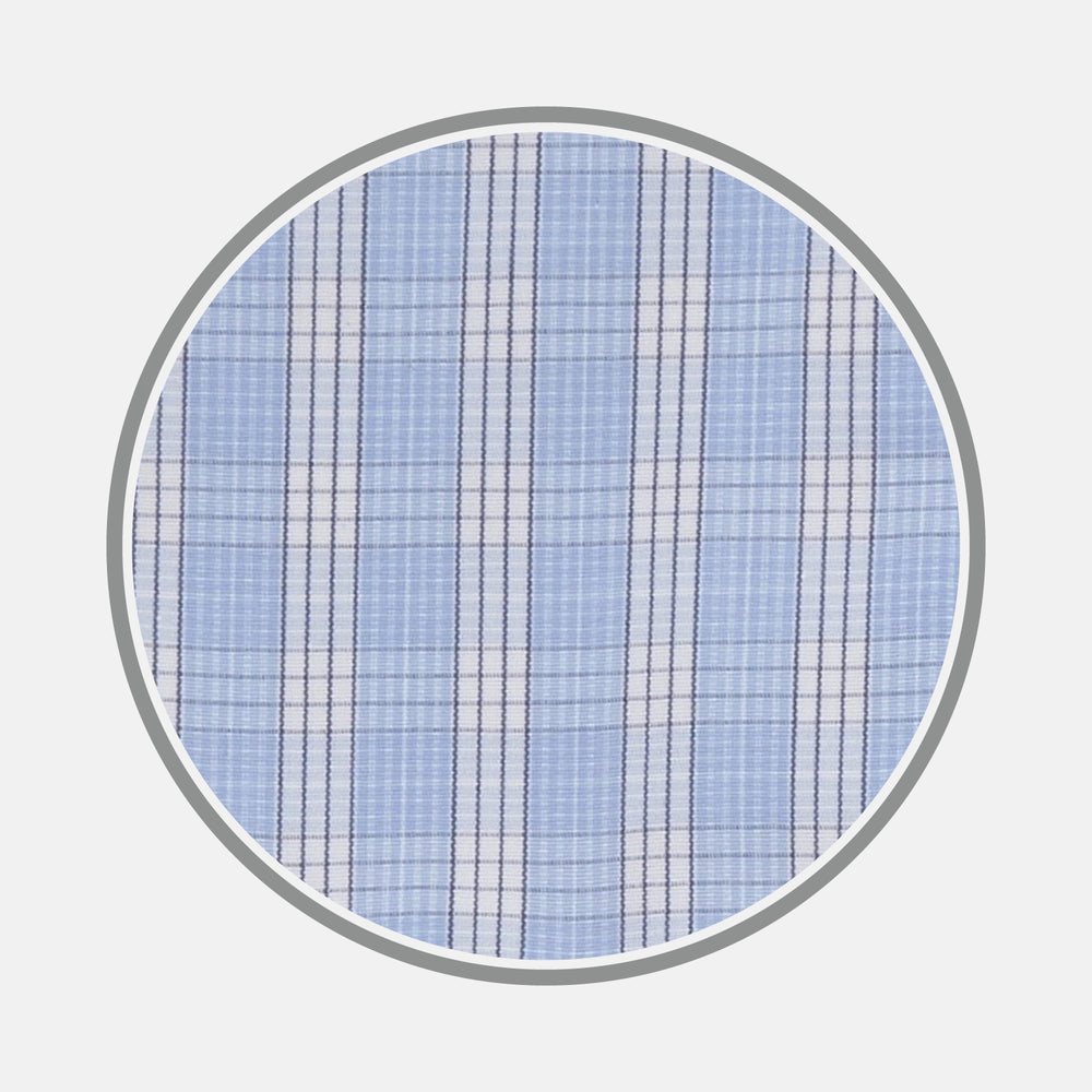 Blue and White Bold Check Cotton Fabric