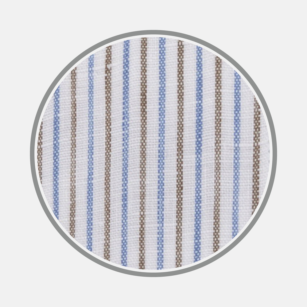 Brown and Blue Ticking Stripe Linen Fabric