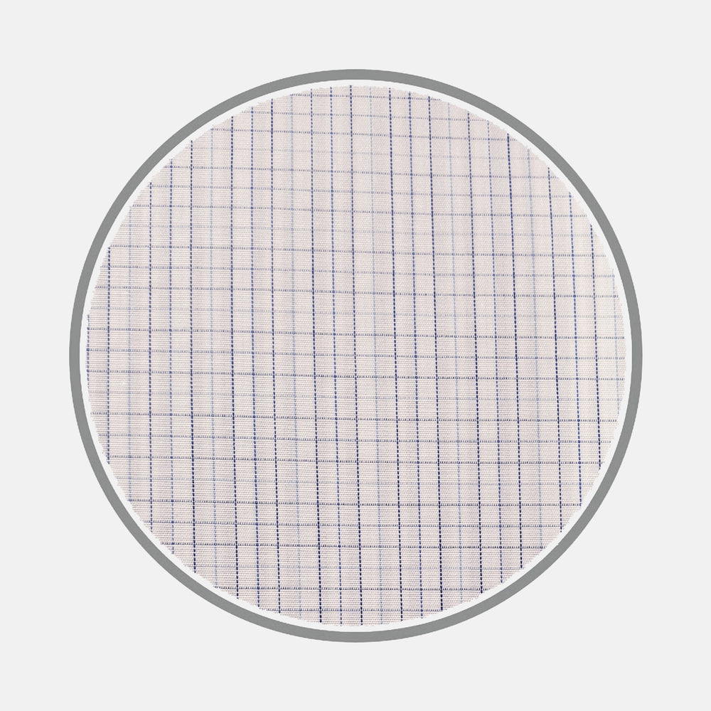 Blue Fine Check Silverline Cotton Fabric