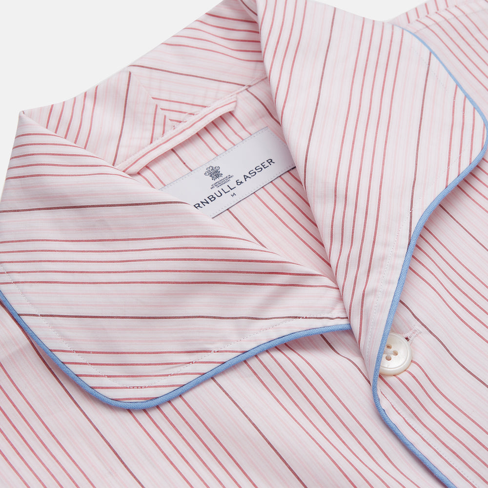 Pink And White Stripe Twill Cotton Pyjama Set