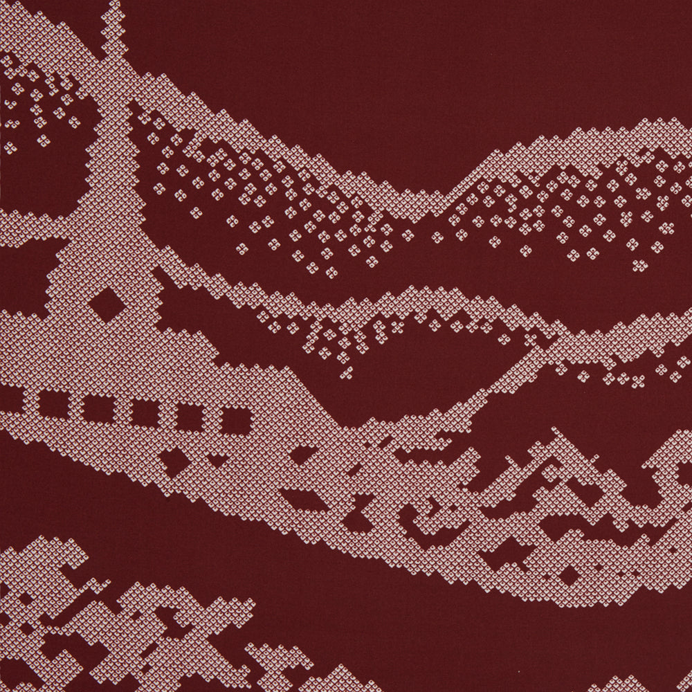 Burgundy Snowscape Motif Silk Extra Large Scarf