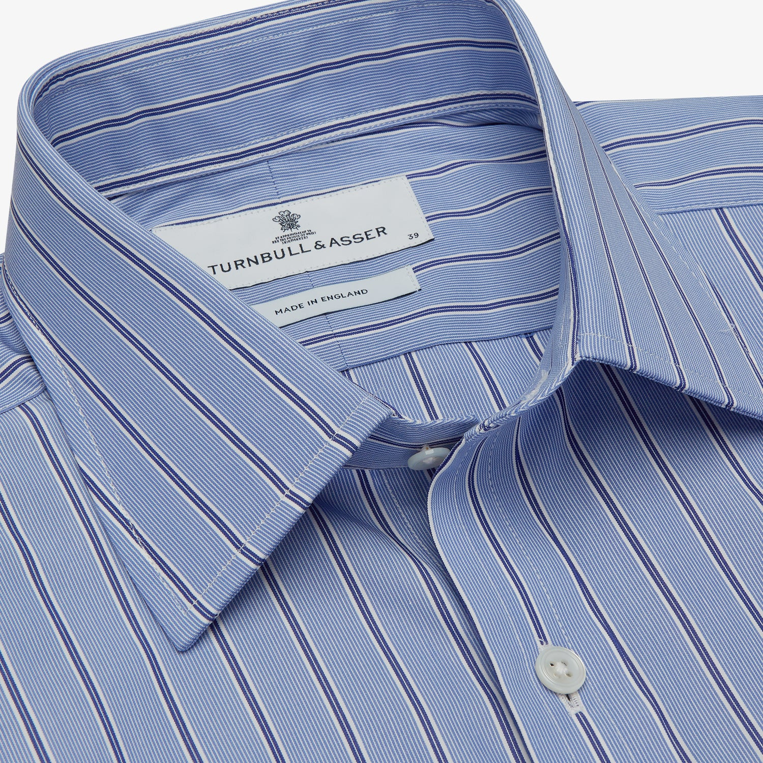 Blue Stripe Regular Fit Shirt With T&A Collar and Square Double Cuffs