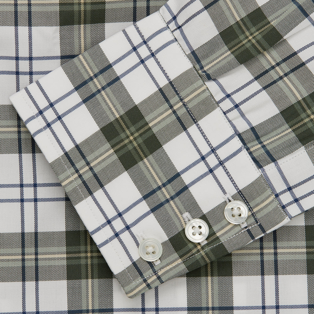 Green Check Shirt with T&A Collar and 3-Button Cuffs