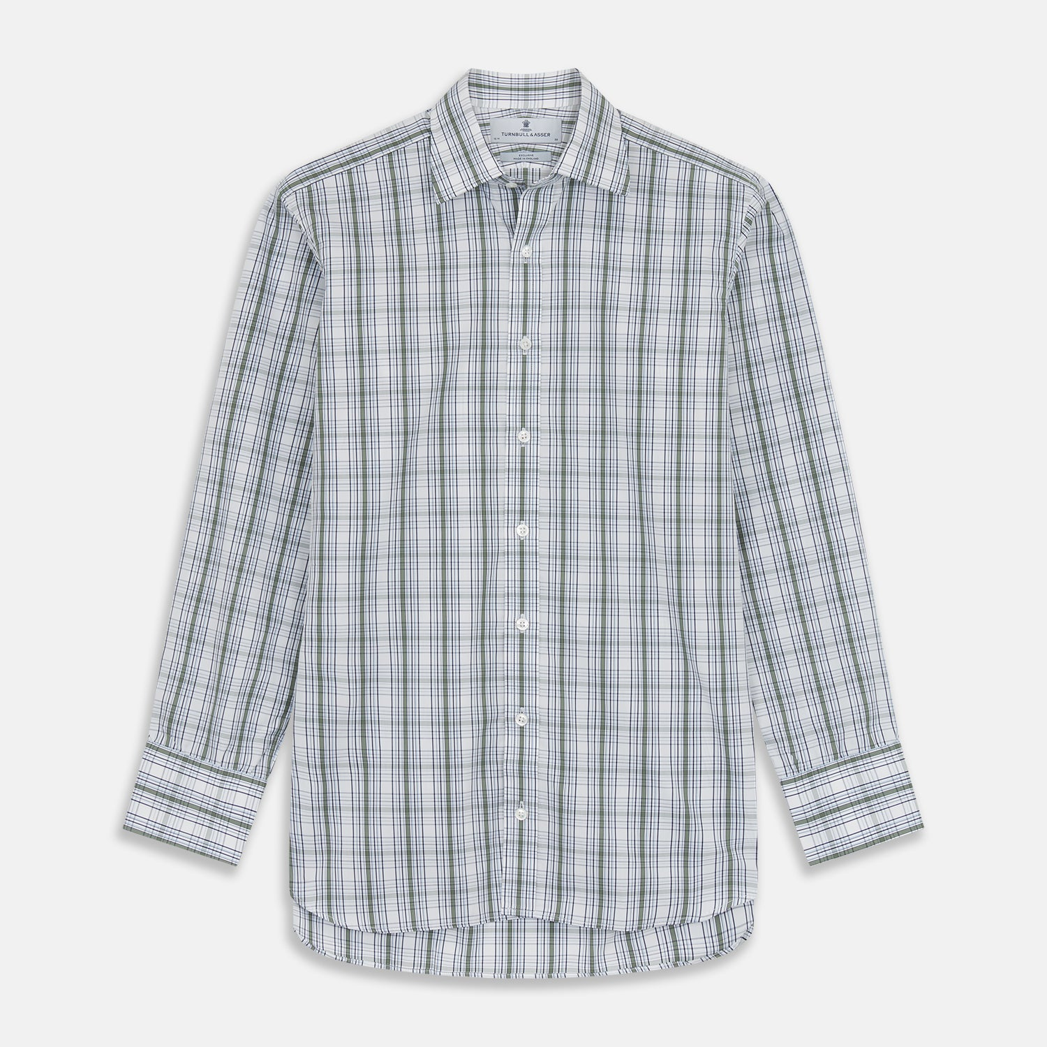 Tonal Green Check Regular Fit Shirt with T&A Collar and 3-Button Cuffs