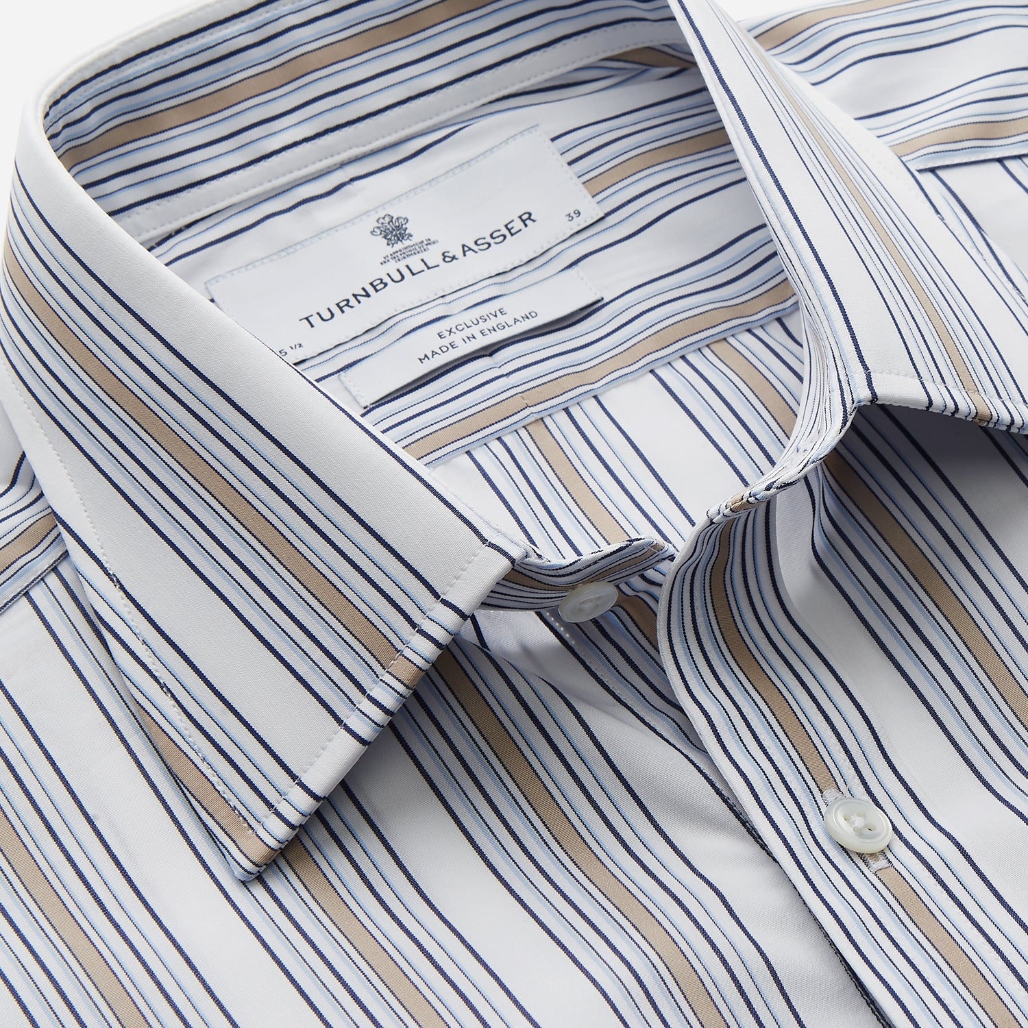 Sand Multi Stripe Regular Fit Shirt with T&A Collar & 3 Button Cuffs