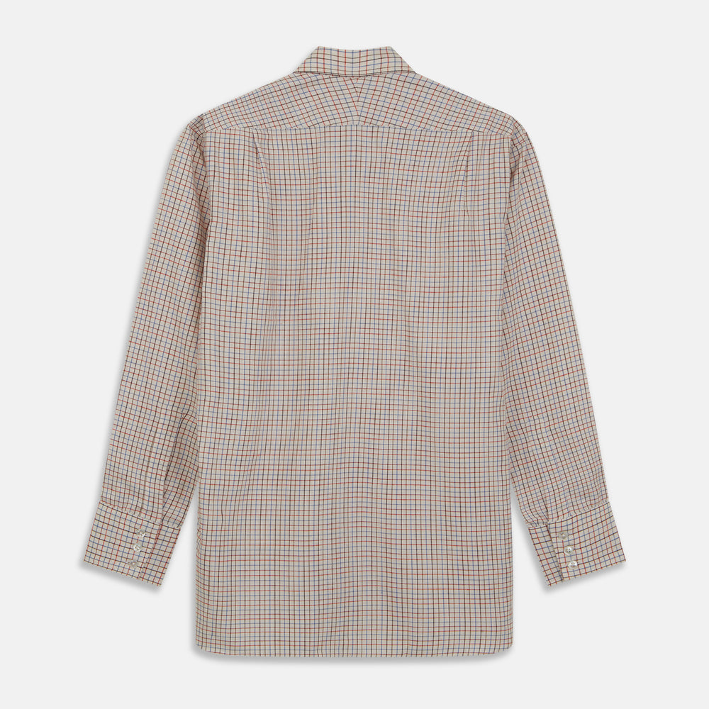 Pink Multi Check Cotton-Cashmere Shirt with T&A Collar and 3-Button Cuffs