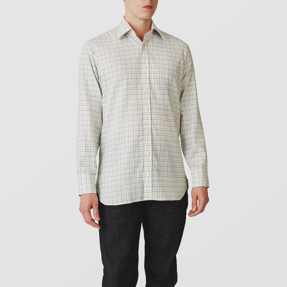 Green Multi Check Cotton-Cashmere Shirt with T&A Collar and 3-Button Cuffs