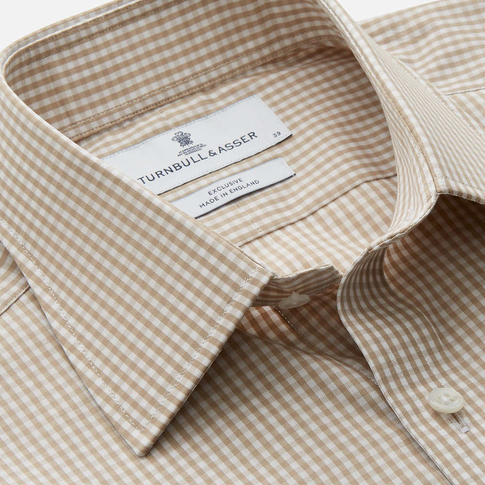 Sand Gingham Check Regular Fit Shirt with T&A Collar and 3-Button Cuffs