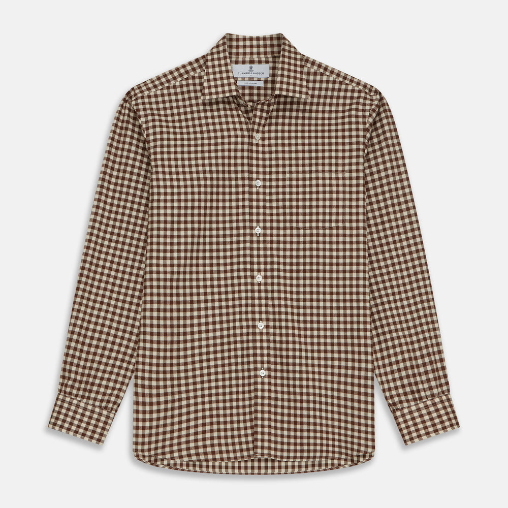 Brown Check Weekend Fit Shirt with Derby Collar and 1-Button Cuffs