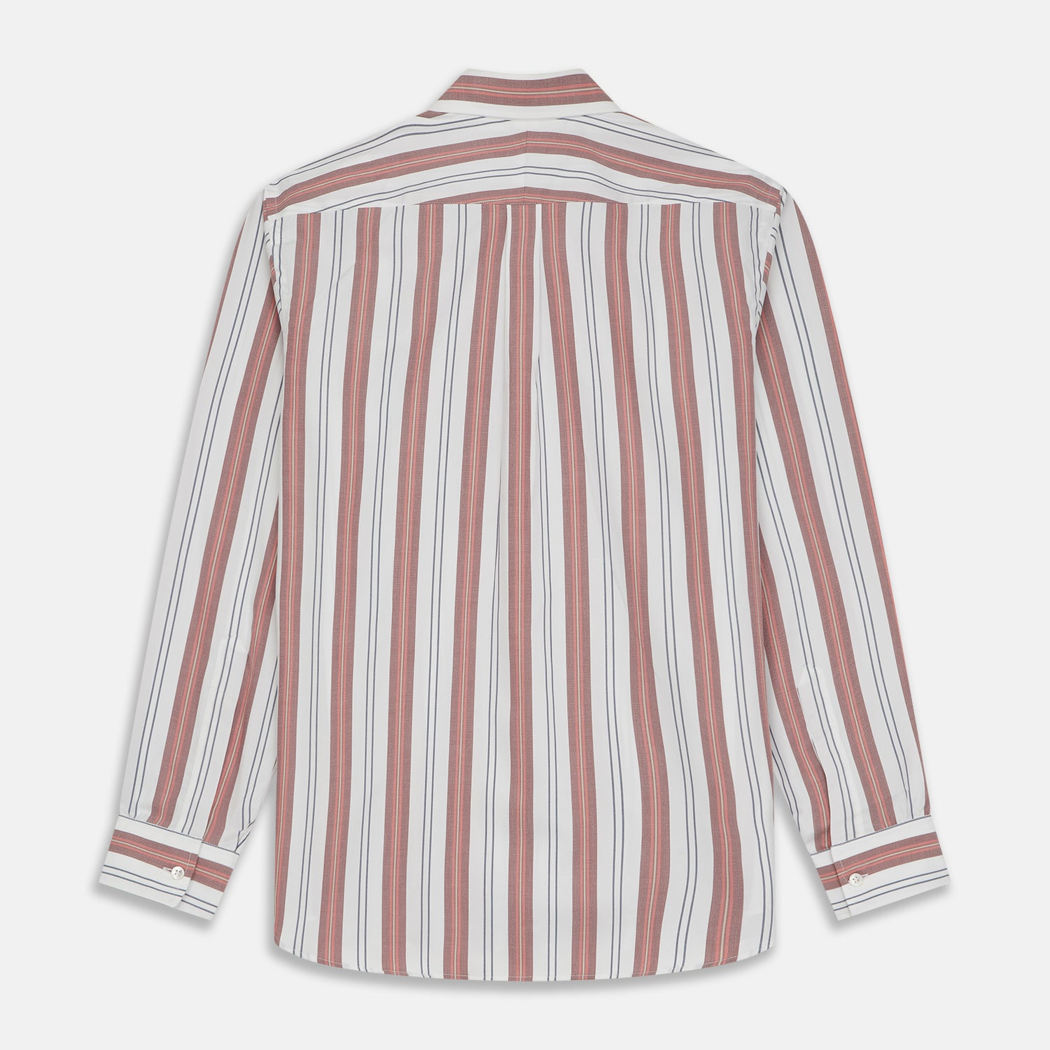 Red, Blue & White Stripe Weekend Fit Shirt with T&A Collar and 1-Button Cuffs